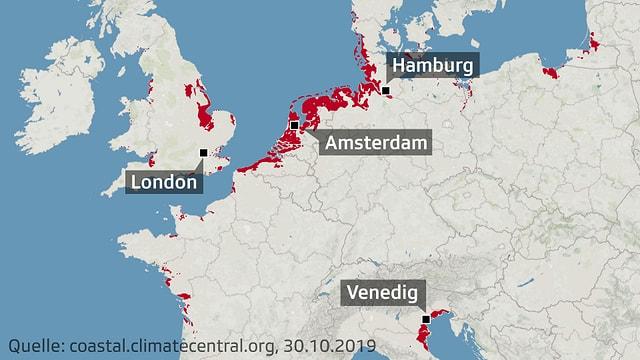 Karte Westeuropas mit eingefärbten Regionen, die 2050 besonders betroffen sind.