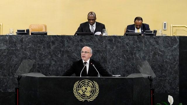Bundespräsident Maurer redet vor der UNO-Vollversammlung.