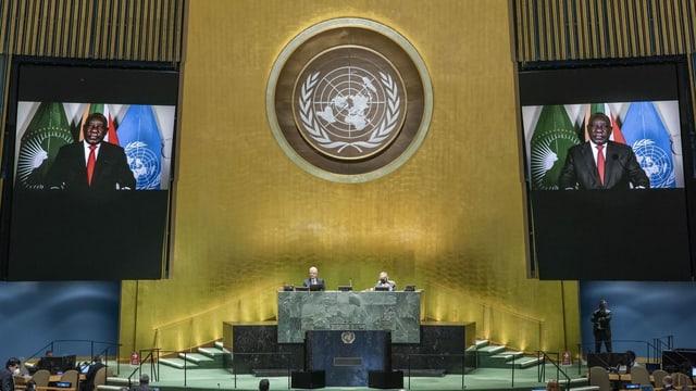 Der Saal der UNO-Generalversammlung in New York ist fast leer.