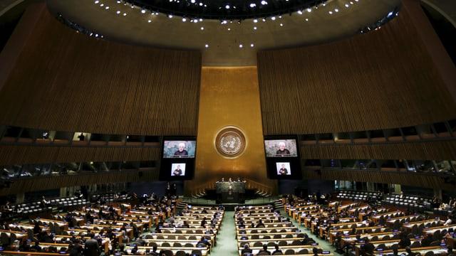 Blick in den Plenarsaal der Uno