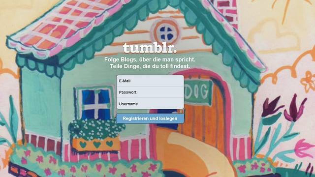 Login-Seite der Blogging-Plattform Tumblr