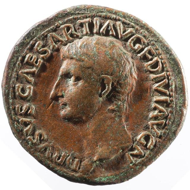Ein As des Kaisers Tiberius (14-37 n. Chr.) aus dem Besitz des Jacob Burckhardt.