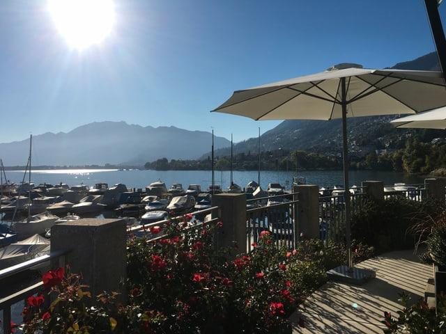 Hafen mit Sonnenschirmen und strahlendem Sonnenschein.