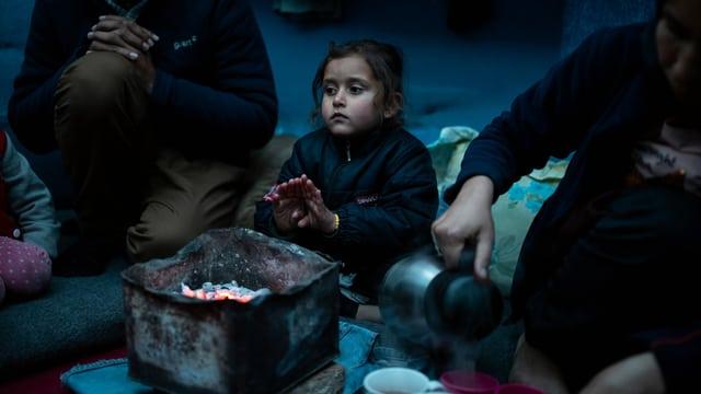 Kind in einem Flüchtlingslager bei Moria (27.2.2020)
