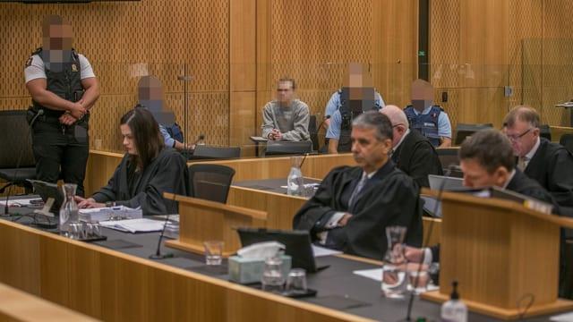 Der Amokläufer Brenton Tarrant während seines Prozesses in Christchurch.