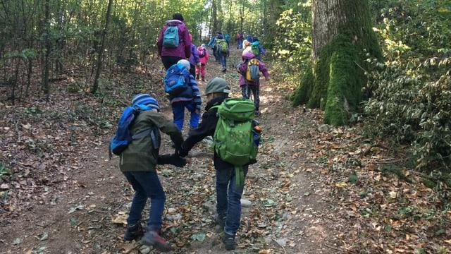 Schulkinder auf einem Waldweg.