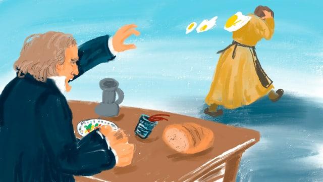 Illustration: Beethoven am Tisch, wirft Eier nach einer davoneilenden Frau
