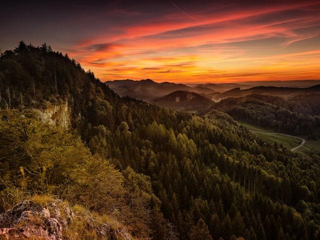 Kitschiger Himmel, grüner Wald und im Vordergrund ein Fels.