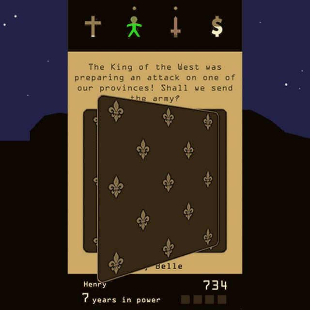 Eine animierte Szene aus dem Spiel, in dem man sich immer zwischen 2 Optionen entscheiden muss.