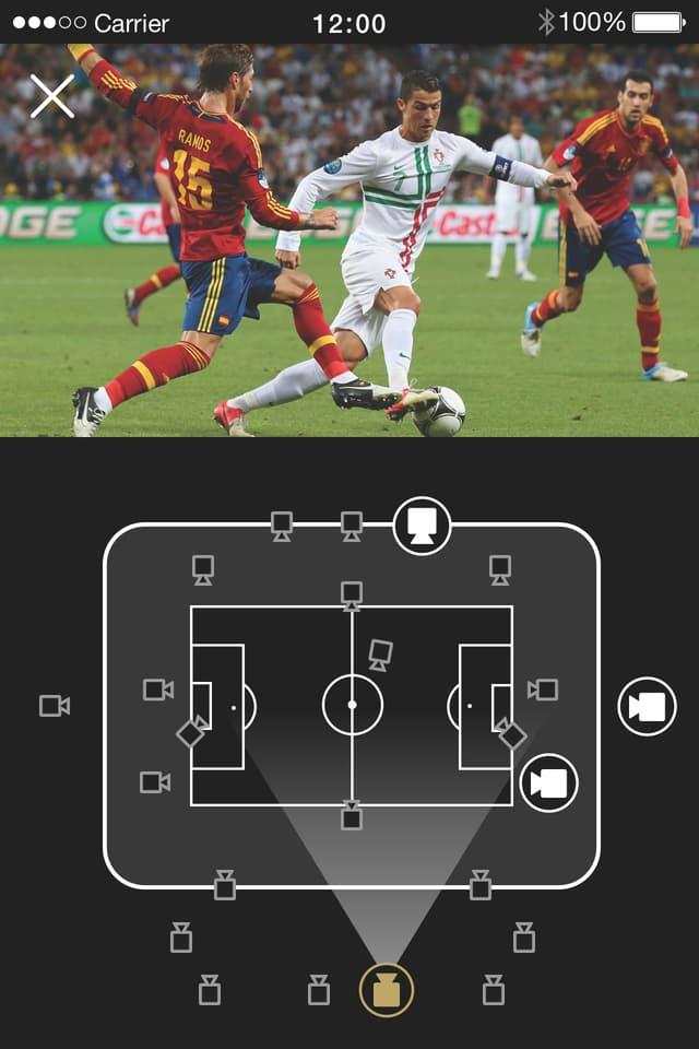 Ein Screenshot der Multianglefunktion der SRF Sport App.