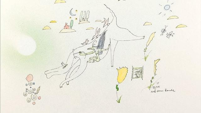 Zeichnung mit Farben, ein Werk von Thurry Schläpfer.