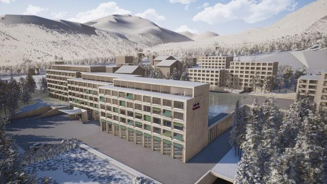 Visualisaziun da la nova surbajegiada - l'hotel e las chasas.