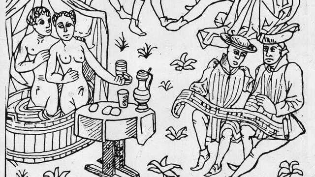 Ein Bade-Event im Mittelalter. Viele Leute, die Baden, Essen und Musik machen.