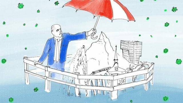 eine Illustration von Alain Berset, der einen Regenschirm über die Miniature-Schweiz spannt