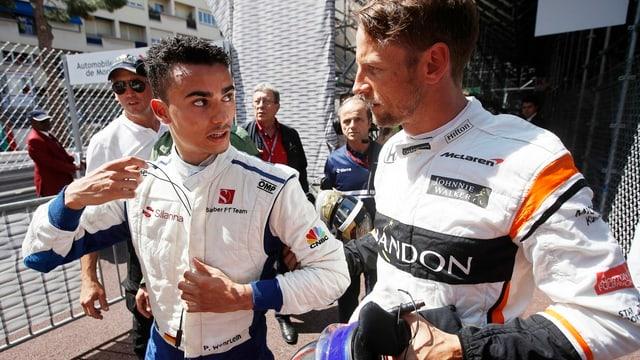 Pascal Wehrlein (links) und Jenson Button beim GP von Monaco