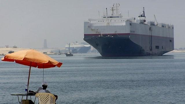 Der Suezkanal bei Ismailia in Ägpyten.