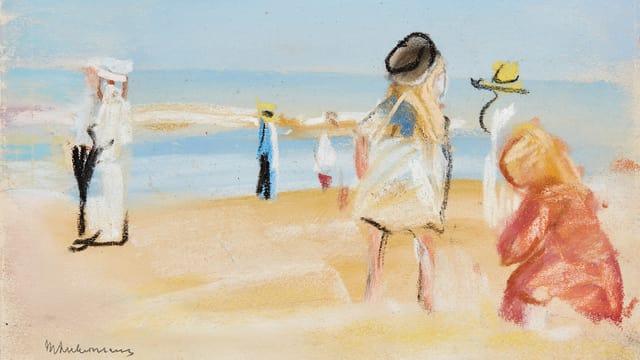 Ein blau-gelbes Gemälde, das Leute am Strand zeigt.