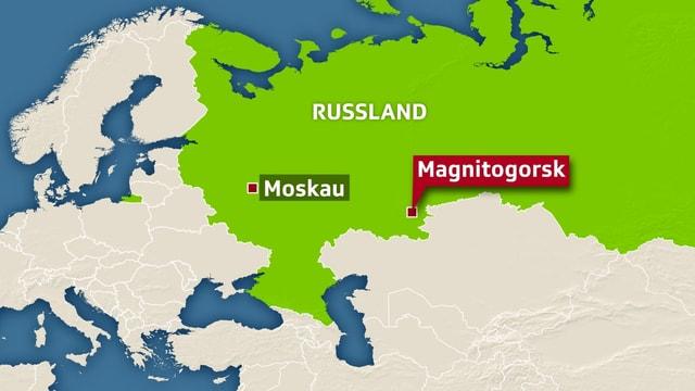 Kartenausschnitt von Russland.