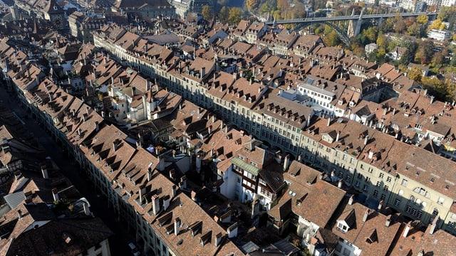 Luftaufnahme der Berner Altstadt.