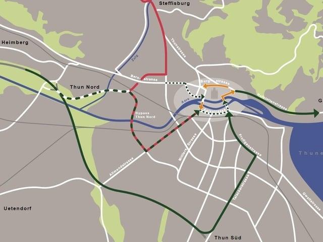 Karte Thun mit Strassenübersicht.