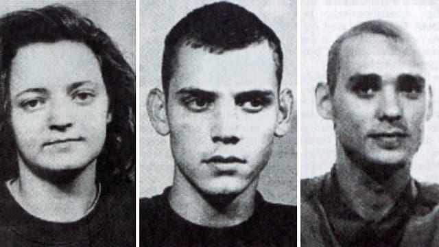 Das NSU-Terrortrio (v.l.n.r.): Beate Zschäpe, Uwe Böhnhardt, Uwe Mundlos