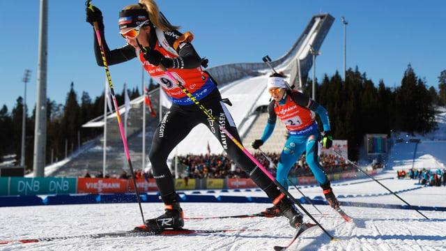 Elisa Gasparin en acziun durant la cursa ad Oslo.