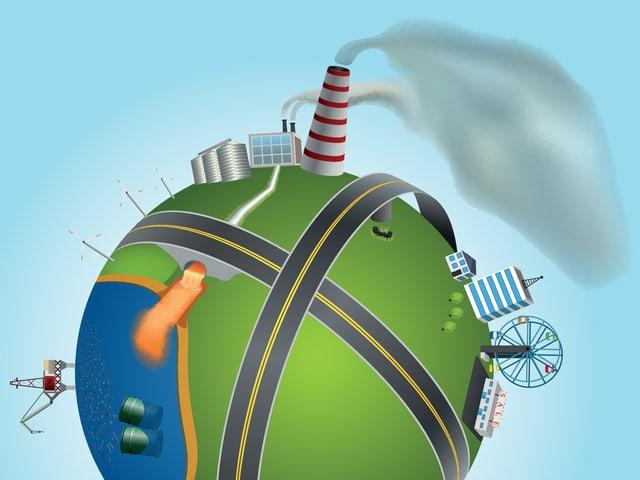 Illustration einer Erde mit Kraftwerken, Strassen und anderen Details.