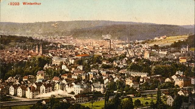 Rauchende Kamine und Industrie im historischen Winterthur