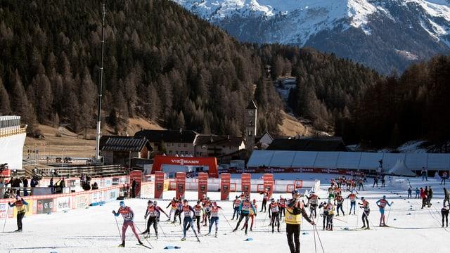 Curriders da passlung a Tschierv avant il Tour de Skis en Val Müstair.