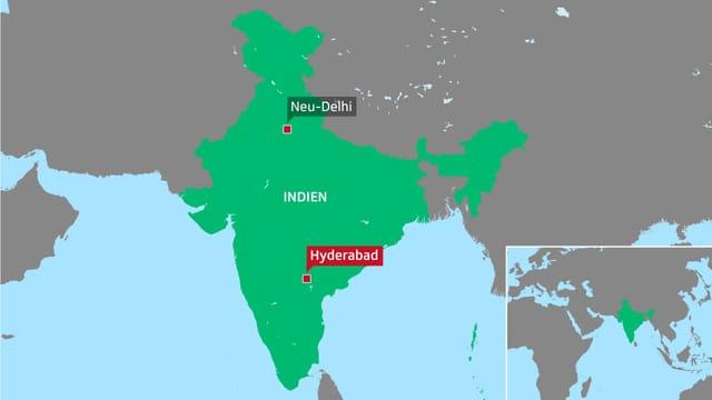 Karte Indien mit den Städten Neu Dehli und Hyderabad