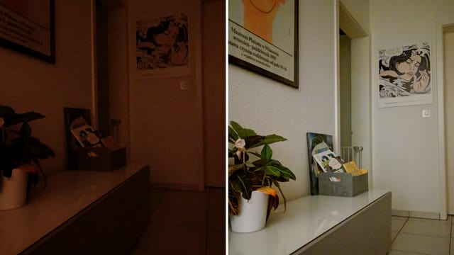 Zwei Bilder, auf denen ein Korridor und farbige Plakate zu sehen sind, sind nebeneinander abgebildet.