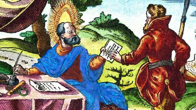 Ein Mann sitzt an einem Tisch mit Schreibutensilien, er gibt einem anderen ein Schriftstück.