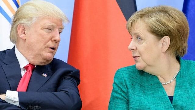 Trump mit Merkel.