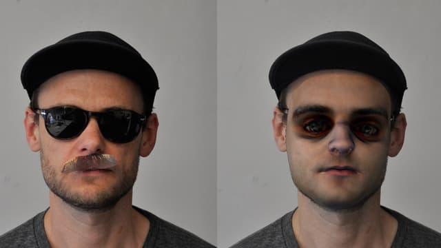 Zweimal das Porträt derselben Person, links mit Sonnebrille, falschem Schnurrbart und Mütze, rechts als vom Computer errechnetes Bild.