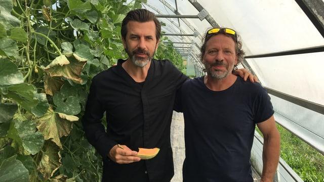 Andreas Caminada e Marcel Foffa en la serra da melonas.