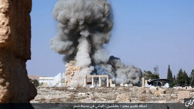 Die Zerstörung eines 2000-jährigen Tempels in Palymira durch die Islamisten.