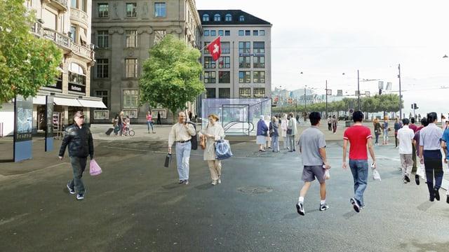 Visualisierung des Schwanenplatzes in Luzern.