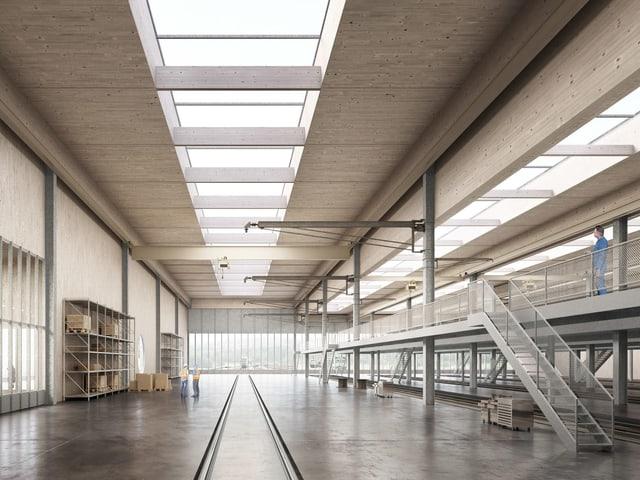 So soll die neue Werkstätte innen aussehen: Schlicht, mit einem Gleis mitten durch das Depot.