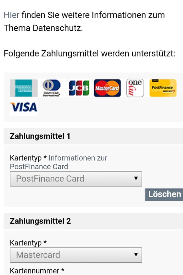 Screenshot der neu integrierten Verwaltung der Zahlungsmittel.