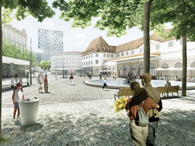 Eine Visualisierung des Platzes.