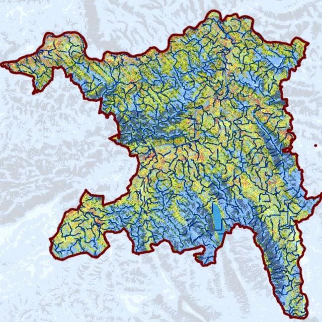 Farbige Karte des Kantons Aargau