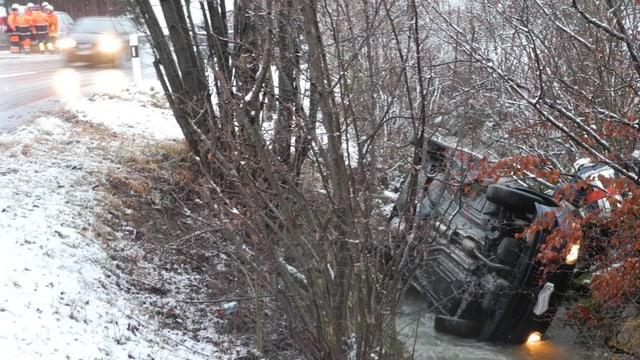 Auto liegt nach Unfall in Bachbett