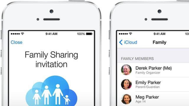 Das Family-Sharing Icon: Eine stilisierte Familie in einer iCloud-Wolke.