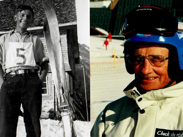 Fotocollage als Skirennfahrer gestern und heute.