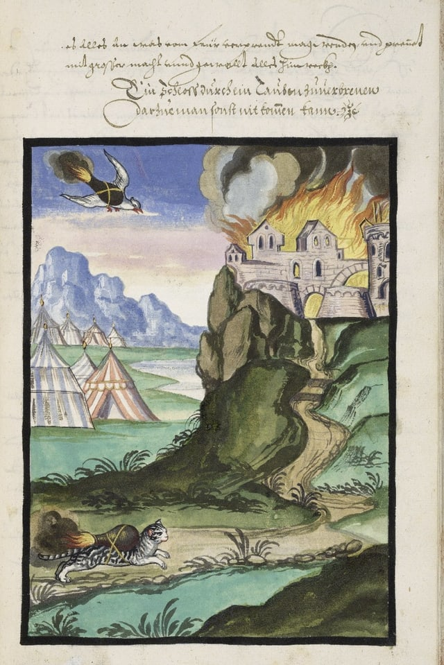 Brennede Katze und brennende Taube eilen zu brennender Burg