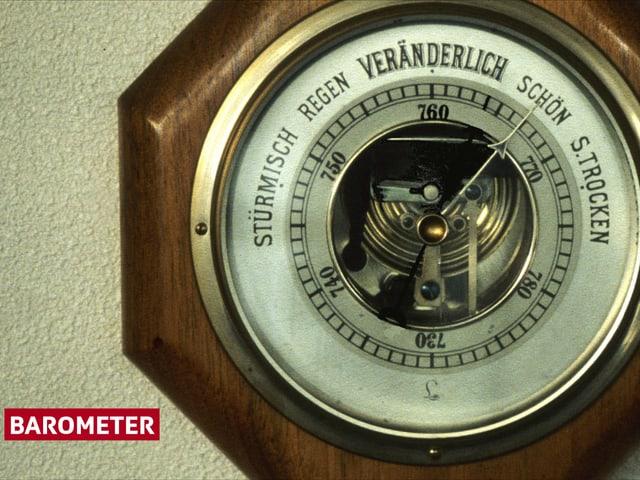 Ein klassischer Barometer. Beschriftet mit Stürmisch, Regen, Veränderlich, Schön und Sehr Trocken