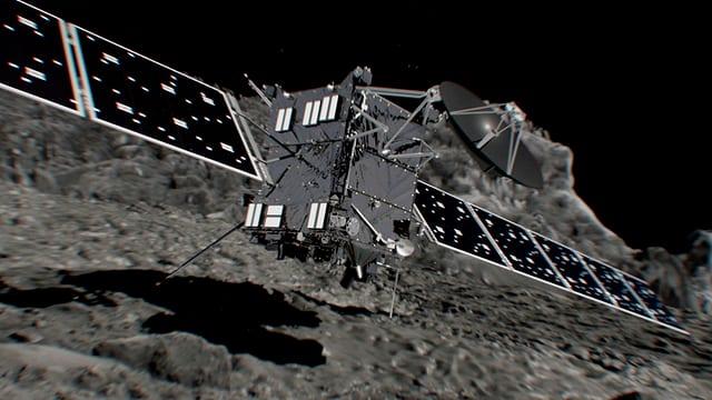 Ein Modell eines Künstlers, dass die Sonde kurz vor dem Aufsetzen auf dem Kometen darstellt.