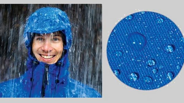 Ein Mann mit Regenjacke steht in starkem Regen, daneben eine Nahaufnahme von Wasserperlen auf blauem Gewebe.