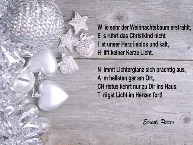 Ein Gedicht auf einem Bild mit Weihnachtsschmuck.