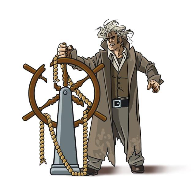 Mann an Schiffsteuer, Zeichnung